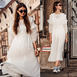 Jacky - Mango Dress, Converse Sneakers, Gucci Bag - White Boho Dress and Platform Sneakers