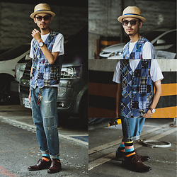 John Kuo - Engineered Gar,Emts Patchwork Vest, Happy Socks, Vanger Oxford, Urban Research Patchwork Jeans - Patchwork is my favorite