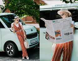 Olga Choi - Zaful Stripe Jumpsuit, Zaful Oval Sunglasses - How to style jumpsuit for heatwave