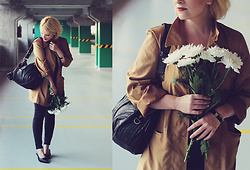 Anca Varsandan - Soliver Trench, Guess Bag, Alexander Mcqueen Bracelet, Primark Jeans, Nina Ricci Earrings - White Flowers