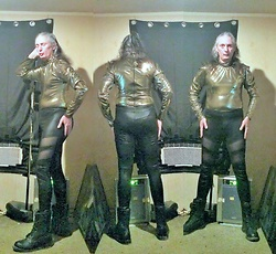 Hot One - Diy Liquid Gold Lame' Turtleneck Body, Designer/Patterned Black Pleather Tights/Leggings., Black Combat Style Boots. - Studio 54 Gold.