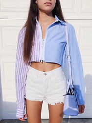 Camille Uglow - Brandy Melville Usa Lisa Denim Shorts, Lf Menswear Cropped Top, Kate Spade Hayes Street Small Sam - Feeling Blue