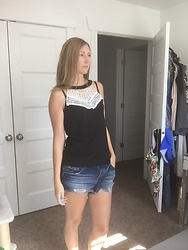 Cindy Batchelor - Black Lace Tank, Blank Nyc Cut Off Denim Shorts - Black Lace Tank and Denim Shorts