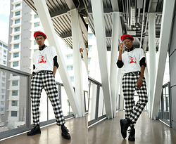 Dominic Grizzelle - Snake Hole The Logo Tee, Snakehole Plaid Trousers - School Yard