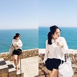 Joyce Wang - H&M White Flowy Blouse, Adidas Sports Shorts - Peniscola