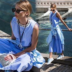 Dora D. - Sunglassspot Slim Cat Eye Sunglasses, Blue Striped Maxi Dress, Fishnet Bag - Just a city girl