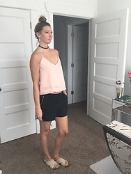 Cindy Batchelor - Blush Cami, Black Zipper Detailed Shorts - Blush Cami and Black Zipper Detailed Shorts