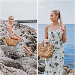 Madara L - Rosegal Pineapple Print Dress, Ebay Straw Bag, Ebay Silver Necklace - Vitamin sea