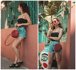 Theoni Argyropoulou - Zaful Bodysuit, Levi's® Vintage Mom Denim Shorts, Zaful Round Bag, Flatform Sandals, Red Cat Eye Sunglasses - Update your Summer Staples on somethingvogue.com