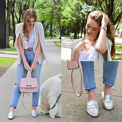 Taylor Doucette - Boohoo Cape Blazer, Citizens Of Humanity Liya Jeans, Dolce Vita Silver Mule Loafers, Michael Kors Pink Satchel - Up! - Shania Twain