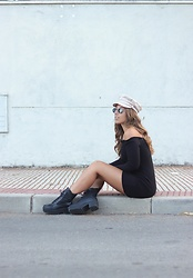 Claudia Villanueva - H&M Cap, Shein Dress, Zaful Boots - The Black Bodycon Dress