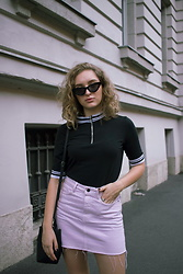 Paula Avalon - Zara Lilac Jeans Skirt, Monki Black Shirt - Lilac summer