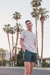 Danny Hoang - Topman Pink Striped Waffle Shirt, Jcrew Navy Shorts - Summer in Palm Spring