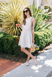 Alyssa Casares - Alyssa Nicole Claire Dress, Milly Straw Bag, Celine Sunglasses, Gucci Loafers - Just Peachy