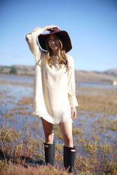 Alyssa Casares - Alyssa Nicole Mia Dress, Hunter Boots, Nordstrom Hat - Country Weekend