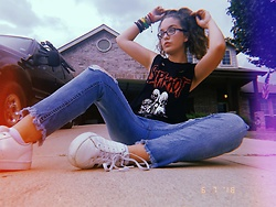 Roni Rae - Adidas White Shoes, Almost Famous Ripped Jeans, Hot Topic Band Shirt, Bracelets - Emo chic