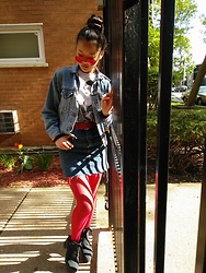 Iris Wojtowicz - Levi's Jean Jacket, Urban Outfitters Jean Skirt - POP of color