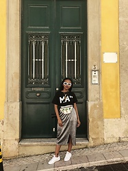 "Reneilwe Masekoameng - Mamagasehome Signature Ma"" Tee, Mrp Palm Tree Fanny Pack, Woolworths Silver Slit Skirt - Ur Favourite Tourist"