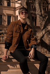 Georg Mallner - Sandro Leather Jacket, Zara Pullover, Topman Tshirt, H&M Pants - July 23, 2018