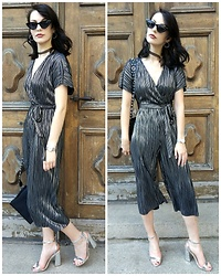 Klaudia - New Look Playsuit, Asos Metallic Sandals -  all silver