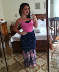 Maria Elena - Harem Pants, Tally Weijl Pink Top, Bata Jewelry Sandals, Silver Ears - Like An Indian Girl
