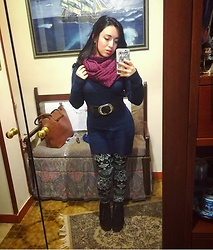Maria Elena - Blue Long Pullover, Leggings, Prima Donna Black Boots, Purple Scarves - Tribal Winter