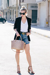 Meagan Brandon - Prada Sunglasses, Boyfriend Blazer, Tank, Gucci Belt (In Stock!), High Waist Denim Shorts, Brahmin Satchel, Leopard Print Sandals - A Chic Way to Wear Denim Shorts