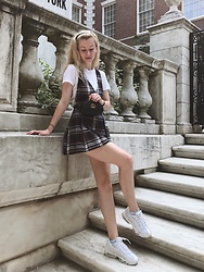 Bec Oakes - White T Shirt, Belt Bag, Plaid Pinafore, Dad Trainers - Spotted...