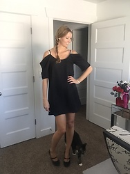 Cindy Batchelor - Black Off The Shoulder Dress - Black Off the Shoulder Dress