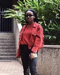Reneilwe Masekoameng - Brandy Melville Usa Red Suede Jacket, Woolworths Red Knit Jersey, Parfois Sunglasses - Red Riding RNLW