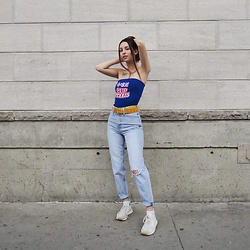 Anouchka Duquette - Levi's® Mon Jean, O Mighty Weekend Cup Nooddles Tube Top, Adidas Sneakers Sock Like, Yellow Belt - Urban Asian Feels @anoukdxq
