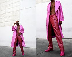 Dominic Grizzelle - Asos Pink Trench, Thrifted Leather Pants - The Pink Print !