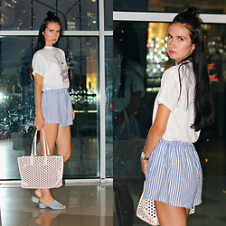 Maria Perchekliy - Zaful T Shirt, Zaful Shorts, Forever 21 Mules, Zara Bag, Marc By Jacobs Watch - Milk Shake