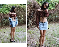Tram Anh - Exlura Crop Top, Vintage Belt, Cheap Monday Denim Skirt, Zara Plateau Wedges, Ray Ban Aviators, Denim Jacket - And if you go chasing rabbits
