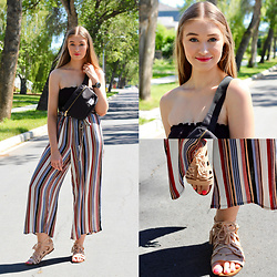 Taylor Doucette - Forever 21 Tube Top, Forever 21 Striped Pants, Zara Gladiator Sandals, Herschel Fanny Pack - Mamma Mia - ABBA