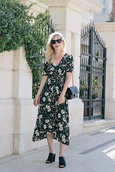 Meagan Brandon - Saint Laurent Sunglasses, Floral Dress (Similar), Similar Mules - Floral Midi Dress & Mules