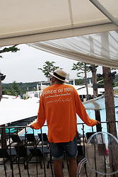 INWON LEE - Byther Peace Orange T Shirts, Byther Vintage Damaged Denim Shorts, Byther Beige Straw Fedora - Summer Orange Pool