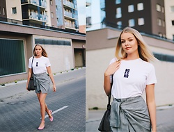Paulina Dworakowska - Stradivarius T Shirt, Zaful Skirt, Mango Shoes, Zara Bag - No es no