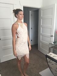 Cindy Batchelor - Beige Lace Open Back Dress - Sexy Beige Lace Open Back Dress