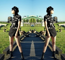 Lexi L - Goodwill Asian Print Turtleneck, Silence + Noise Black Skort, Fishnets, Justin Roper Boots, Velvet Beret - Sure Thing