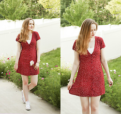 Emily S. - Goldie London Polka Dot Dress, Converse Sneakers - Red Polka Dot Dress