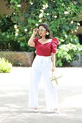 Kristen Tanabe - Shein Red Puff Sleeve Top, A New Day White High Waisted Pants, Forever 21 White Pointed Heels, Vintage Purse, Baublebar Flower Earrings, Marc Jacobs Cat Eye Sunglasses - Lady in Red
