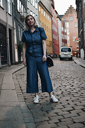 Elizabeth Claire - Warehouse Striped Jumpsuit, Adidas Superstars - Good Evening