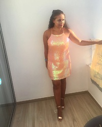 Ruby Williams - New Look Glitter Dress, New Look Rose Gold Heels - Golden hour