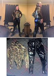 Hot One - Diy Liquid Gold Lame' Turtleneck Bodysuit, Diy Liquid Black Latex Leggings/Pants - Disco Gold Glam!