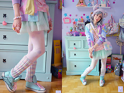 Luly Pastel Cubes - Like Totally Jacket, Kawaii Bear - Pastel Mix
