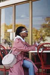 Reneilwe Masekoameng - Country Road Pink Coat, Foshini Circle Sling Bag - Ice-cream Date