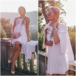 Madara L - Shein A Line Dress - White denim summer