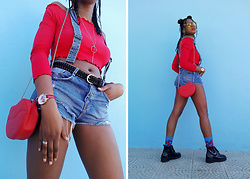 Yara Snow'z - H&M Red Off Shoulder Top, New Yorker Red Lip Bag, Zara Denim Shorts - Lips_3007
