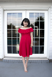 Bethery Yang - Forever 21 Red Off Shoulder Dress - Lady In Red